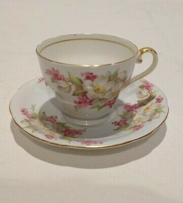 Pink and White Flowers on white  Background Aynsley Tea Cup and Saucer Set RARE