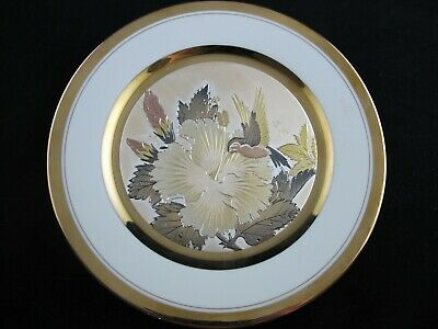Art of Chokin DECORATIVE PLATE Humming Birds, Etched Copper, 24K Gold, Silver
