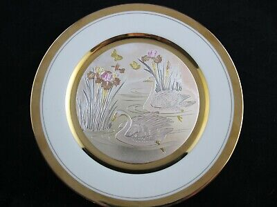 Art of Chokin DECORATIVE PLATE Swan with Iris, Etched Copper, 24K Gold, Silver