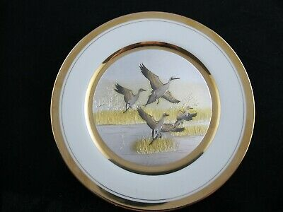 Art of Chokin DECORATIVE PLATE Pintail Ducks Etched Copper, 24K Gold LTD ED
