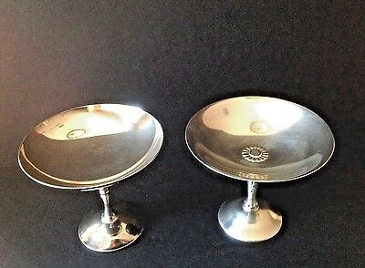Lot 2 Vintage SPAIN Silver-plate Pedestal Bowl Nut/Candy Dish Centerpiece MARKED