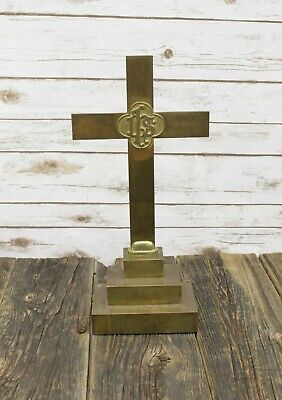 "Antique Gorham & Co Solid Brass Altar Cross IHS 18"" Pedestal Church Early 1900's"