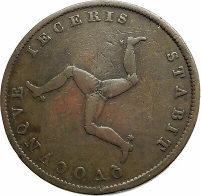 1839 ISLE of MAN Antique COPPER 1/2 Penny Coin TRISKELES Queen Victoria i75726