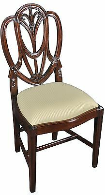 Pair of 2 Hand Carved Mahogany Wood Dining Side Chairs - Sheraton Style