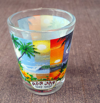 Ron Jon Colorful Shot Glass.  Key West Florida.  Tiny glass.  2 1/4 inches tall.
