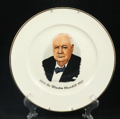 """1874 SIR WINSTON CHURCHILL 1965 Hanging 10"""" Plate Made in Western Germany"""