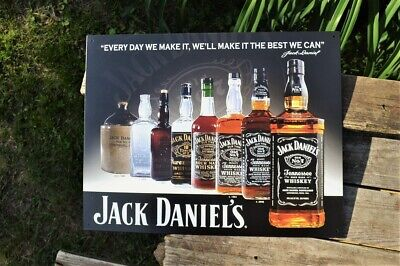 Bottle 7 Whiskey Tin Metal Sign Jack Daniels Old No Made Tennessee Hollow