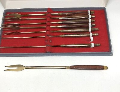 8 Vintage Mid Century Modern Fondue Forks Wood Gold Tone Appetizers Hors Devours