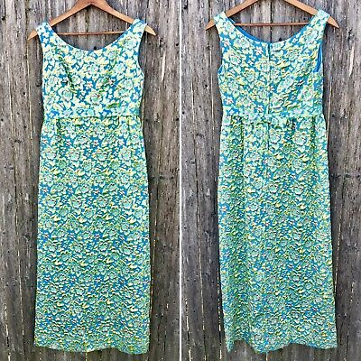 Vintage 1950s 1960s Turquoise Gold Brocade Dress XSmall Teen Prom Pageant
