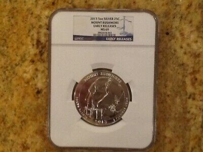 2013 Mount Rushmore Atb 5Oz Silver Ngc Ms-69 Early Releases