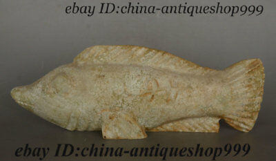 Collect Old Rare Antique China Hongshan Culture Natural Stone Carved Fish Statue