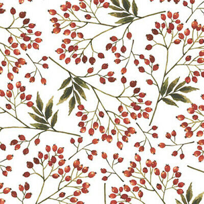 Christmas ~ RED Snowberries on White Tissue Paper #797 ~ 10 Large Sheets