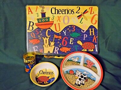 Cheerios Children's Dish Set - Divided Plate, Bowl, Cup, Spoon, and Placemat