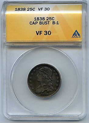 1838 25C Capped Bust Silver Quarter. ANACS Graded VF 30. Lot #2514