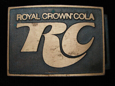 QK03132 *NOS* VINTAGE 1970s **ROYAL CROWN (RC) COLA** SOLID BRASS BELT BUCKLE