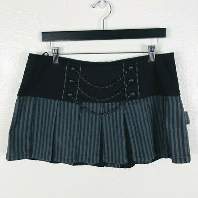 a57c308ee8 Tripp NYC Size XL Mini Pleated Skirt Black Gray Striped Chains Goth Punk  Rock