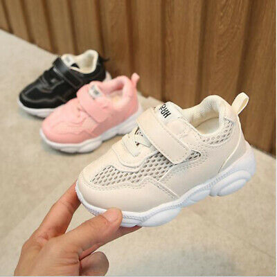 Baby Girls Trainers Sports Shoes Toddler Kids Soft Lace Up Casual Shoes Sneakers