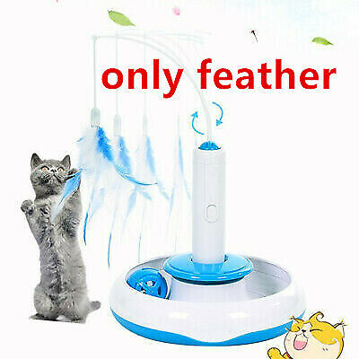 Kids Baby Pet Cat Kitten Electric Rotating Feather Rod Cat Teaser Play Toys