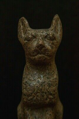 ANCIENT EGYPT Antique UBASTI BASTET Goddess EGYPTIAN CAT Pharaoh STATUE Stone,BC