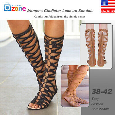 0d1f53710ae6 Womens Knee High Cut Out Lace Up Sandals Flat Gladiator Shoes Size 7.5-10