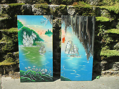 Chinese Pictures Wood Panels lacquer Mother of Pearl Boats Asian Wall Set of 2