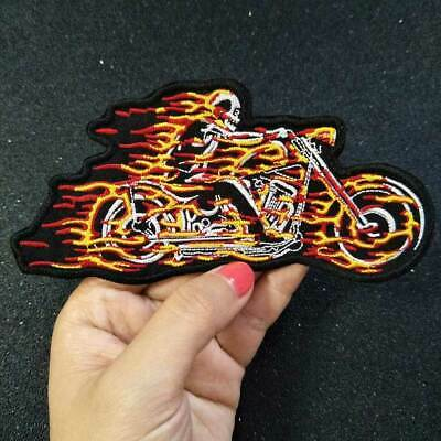 Fire motorcycle Iron On Patch Embroidered Applique Sewing Label punk biker Patch
