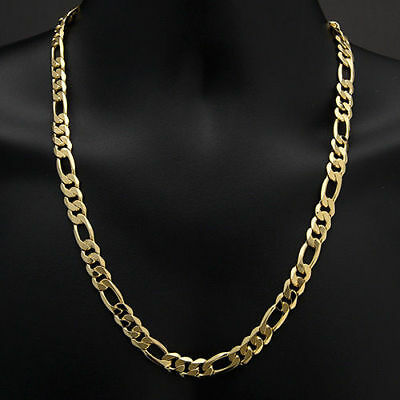 18K Gold Plated Solid FIGARO CHAIN 316L Stainless Steel Men's Link Necklace