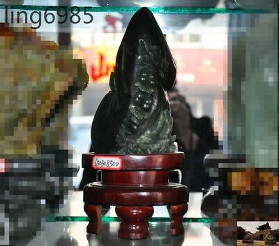Chinese natural green Xiu jade carved Brave troops Pixiu beast gourd ship statue