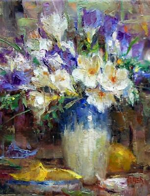 YA413 Home decor art 100% Hand-painted oil painting on canvas Flower