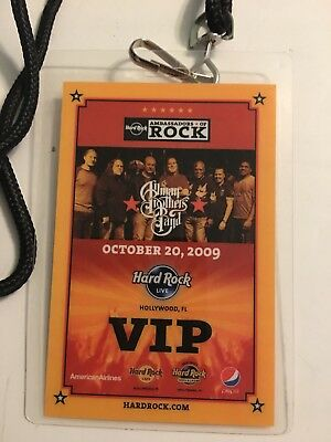 Hard Rock Cafe AMBASSADORS OF ROCK 2009 ALLMAN BROTHERS BAND VIP PASS