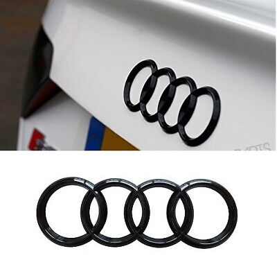 For Audi Rings Black Front+Rear A3 A4 S4 A5 S5 A6 S6 SQ7 TT Badge Emblem 2PCS
