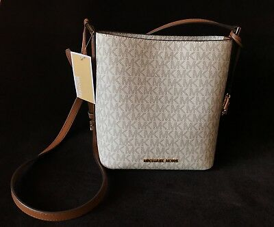 8189244f21a7 New MICHAEL KORS, MK LOGO, KIMBERLY CROSSBODY BAG IN VANILLA/LUGG SM BUCKET