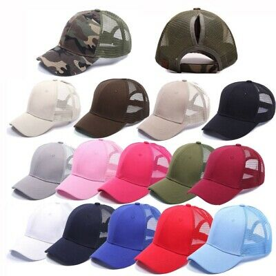 11124e2f34482 Women Girl Cotton Baseball Cap with Ponytail Adjustable Summer Sun Hat  Visor Cap