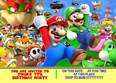 envelope game console NEW d14 MARIO Personalised Birthday Party Invitations A6