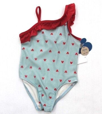 a1a97314cb2a5 Disney Junk Food Girls' Mickey Mouse Ruffle One Piece Swimsuit Size 2T Aqua  Red