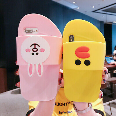 Cartoon Silicone 3D Bear Rabbit Cute Phone Case Cover For iPhone X 8 7 6S Plus