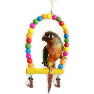 Novel Bird Parrot Parakeet Toy Hanging Swing Cage Rope Pet Chew Bell Budgie Game