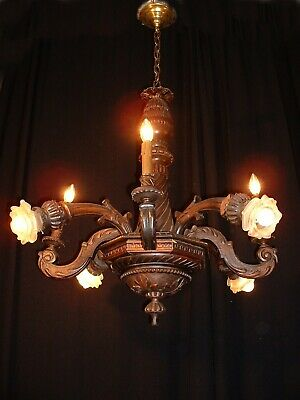 Antique hand custom made French hand carved wood chandelier ca. 1890's
