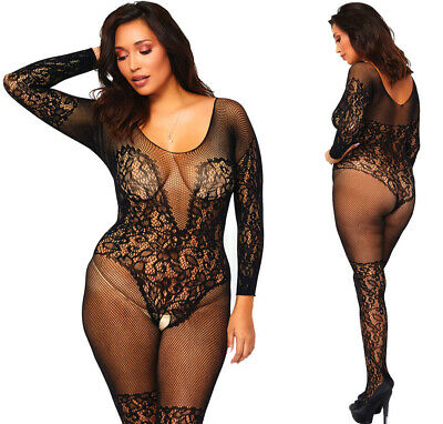 319bb6d3e9 LEG AVENUE VINE Lace And Net Bodystocking UK 16 to 18 Sexy Plus Size ...