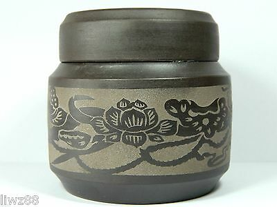 Chinese Yixing ZIsha Pottery Tea Caddy Canister,250 CC,Purple, Floral Pattern