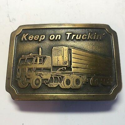 VINTAGE 1976 Brass Keep On Truckin' XNWD Thermo King Truck Belt Buckle