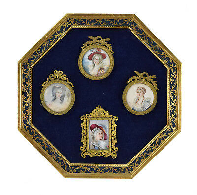Collection 4 19th Century French Portrait Miniatures Mounted in Frame Signed