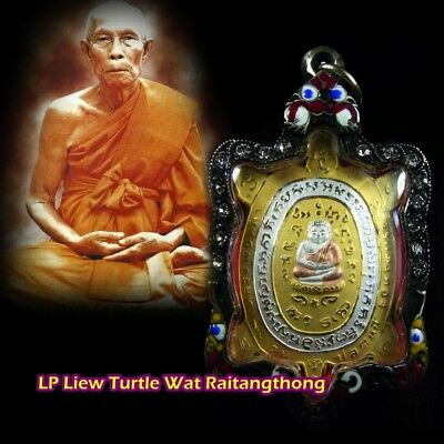 Amulets Money Lucky Rian Turtle LP LIEW Thai Meditating Buddha For Wealth Rich
