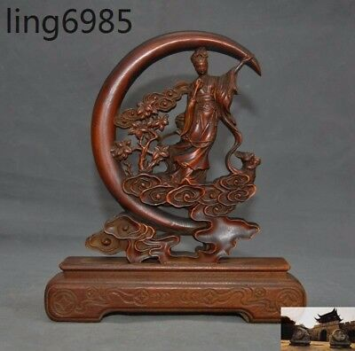 """9"""" Old Chinese Boxwood Wood hand carved Rabbit Chang e Goddess God statue Screen"""