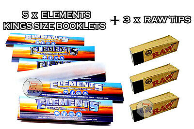 5 x ELEMENTS KING SIZE ULTRA THIN RICE ROLLING RIZLA PAPERS + 3 x RAW TIPS SMOKE