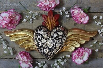 Hand Carved Black Wood Heart & Gold Wings Milagros Mexican Folk Art Michoacán