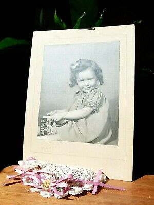 """Vintage Portrait of """"Teddy"""" Cute Little girl with Mother Goose Rhymes book!"""