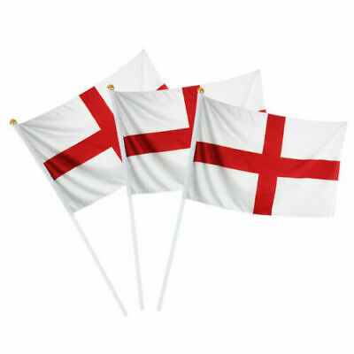 """10 ST GEORGE CROSS SMALL HAND WAVING FLAG 6"""" x 4"""" England Georges Day Table Desk"""