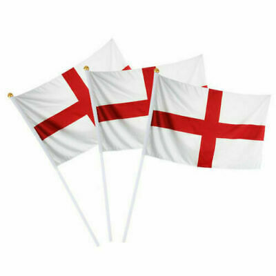 """20-100 ST GEORGE CROSS SMALL HAND WAVING FLAG 6"""" x 4"""" England Georges Day Table"""