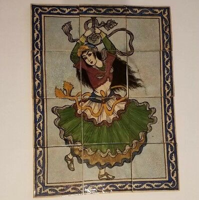Antique Set of 12 Persian Qajar ? Ceramic Tiles Belly dancer mosaic picture
